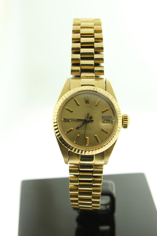 Rolex Ladies President Solid 18K Yellow Gold Champagne Dial 6917 26mm - Arnik Jewellers