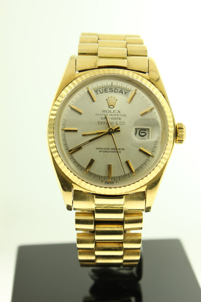 Rolex Day Date President Solid 18K Yellow Gold Tiffany & Co Dial 36mm 1803 - Arnik Jewellers