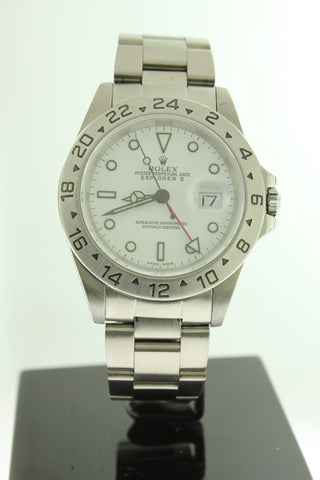 Rolex Explorer II Oyster White Dial Stainless Steel 16570 40mm GMT - Arnik Jewellers
