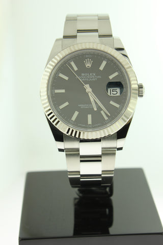 Rolex Datejust 41 Stainless Steel Black Dial White Gold Fluted Bezel Oyster 126334 - Arnik Jewellers