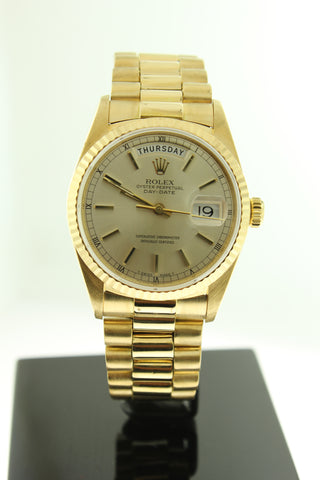 Rolex Day Date President Solid 18K Yellow Gold Silver Dial 18038 - Arnik Jewellers