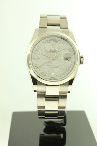 Rolex President Day Date Solid 18K White Gold Oyster 118209 Meteorite Diamond Dial - Arnik Jewellers