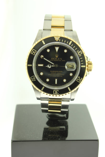 Rolex Submariner Date 18K Yellow Gold & Steel Black Dial 40mm 16613 - Arnik Jewellers