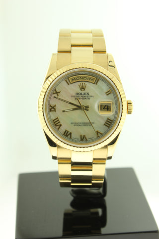 Rolex President Day Date Solid 18K Yellow Gold Oyster 118238 Mother of Pearl Dial - Arnik Jewellers