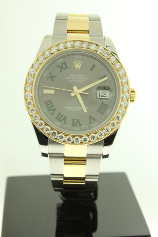 Rolex Datejust II 18K Yellow Gold & Stainless Steel Rhodium Dial 41mm Oyster Diamond Bezel 116333 - Arnik Jewellers