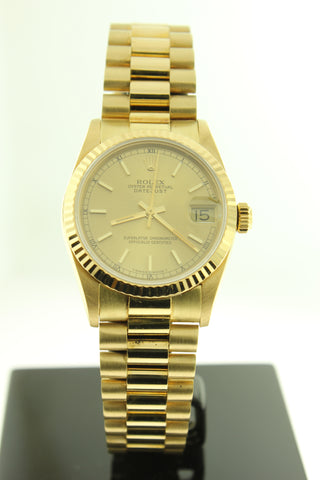 Rolex Ladies President Solid 18K Yellow Gold Champagne Dial 68278 31mm - Arnik Jewellers