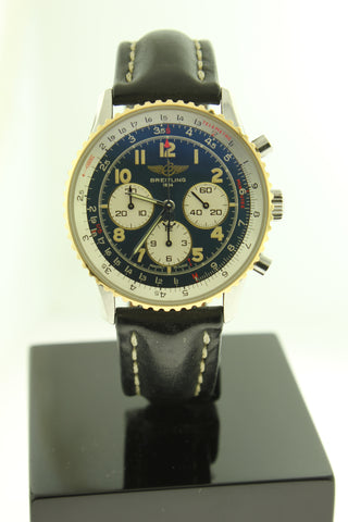 Breitling Navitimer Automatic Chronograph 18K Gold & Stainless Steel Blue Dial 38mm D30022 - Arnik Jewellers