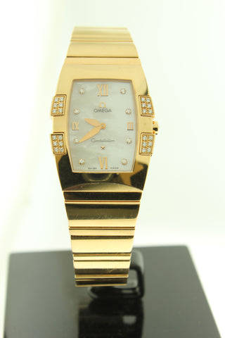 Omega Constellation Quadrella Solid 18K Rose Gold Diamonds Mother of Pearl Diamond Dial 11867500 - Arnik Jewellers