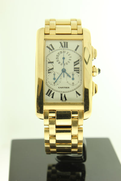 Cartier Tank Americaine Solid 18K Yellow Gold Chronograph 1730 - Arnik Jewellers