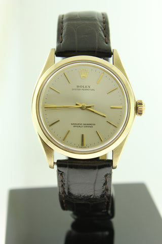 Rolex Oyster Perpetual Solid Gold 34mm Silver Dial 1002 - Arnik Jewellers