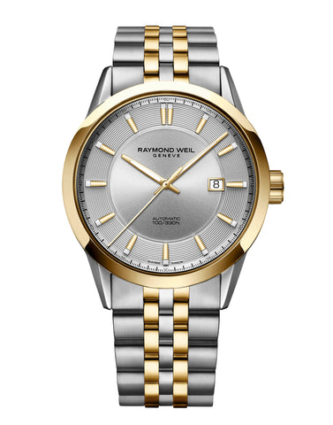 Raymond Weil Freelancer Automatic Classic Two-Tone Yellow Gold Watch 42mm Silver Dial 2731-STP-65001 - Arnik Jewellers