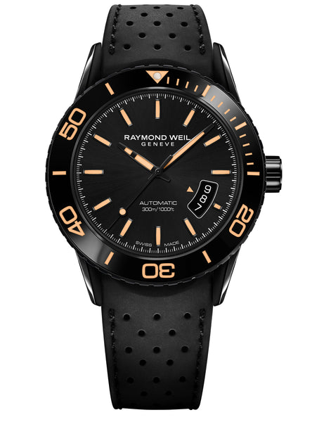 Raymond Weil Freelancer Automatic 42.5mm Black Dial Rubber Strap 2760SB220001 - Arnik Jewellers