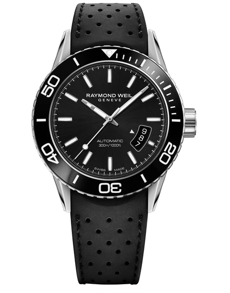 Raymond Weil Freelancer Automatic 42.5mm Black Dial Rubber Strap 2760SR120001 - Arnik Jewellers