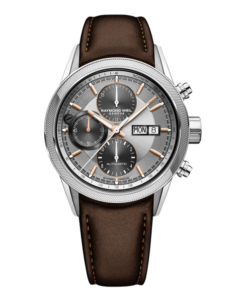 Raymond Weil Freelancer Automatic Chronograph 42mm Brown Leather Silver Dial 7731-SC2-65655 - Arnik Jewellers