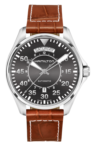 Hamilton Khaki Aviation Pilot Day Date Automatic H64615585- Arnik Jewellers