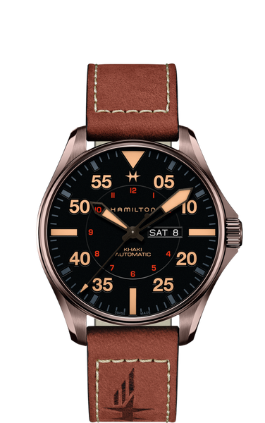 Hamilton KHAKI AVIATION PILOT DAY DATE AUTO 46mm H64705531 - Arnik Jewellers