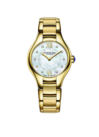 Raymond Weil Noemia Quartz 24mm Yellow Gold PVD Mother of Pearl Diamond Dial 5124P00985 - Arnik Jewellers