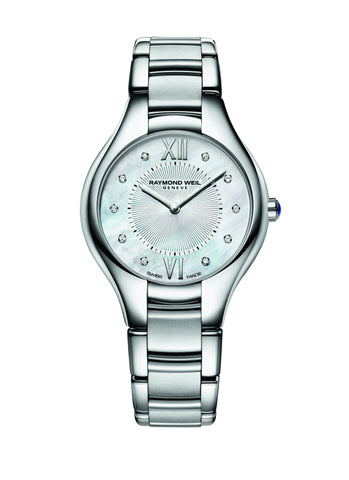 Raymond Weil Noemia Quartz 32mm Stainless Steel Mother of Pearl Diamond Dial 5132ST00985 - Arnik Jewellers