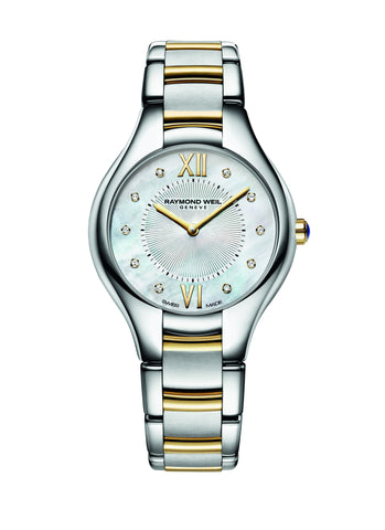 Raymond Weil Noemia Quartz 32mm Yellow Gold PVD/Stainless Steel Mother of Pearl Diamond Dial 5132STP00985 - Arnik Jewellers