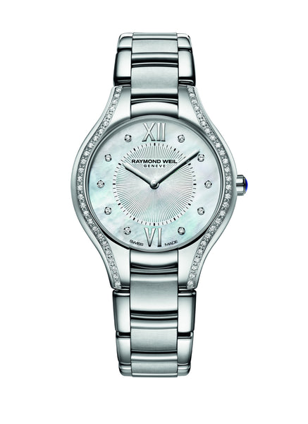 Raymond Weil Noemia Quartz 32mm Stainless Steel Mother of Pearl Diamond Dial and Diamond Bezel 5132STS00985 - Arnik Jewellers