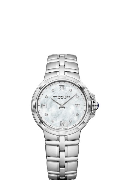 Raymond Weil Parsifal Ladies Quartz Classic 8 Diamond Mother-Of-Pearl Dial 30mm 5180-ST-00995 - Arnik Jewellers