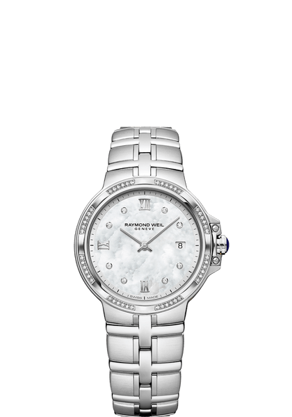 Raymond Weil Parsifal Ladies Quartz Classic 56 Diamond Mother-Of-Pearl Dial 30mm 5180-STS-00995 - Arnik Jewellers