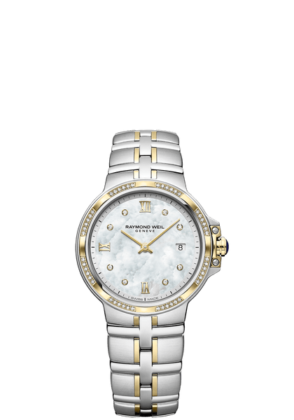 Raymond Weil Parsifal Two Tone Ladies Quartz Classic 56 Diamond Mother-Of-Pearl Dial 30mm 5180-SPS-00995 - Arnik Jewellers