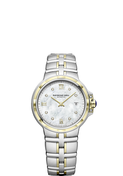 Raymond Weil Parsifal Ladies Two Tone Quartz Classic 8 Diamond Mother-Of-Pearl Dial 30mm 5180-STP-00995 - Arnik Jewellers
