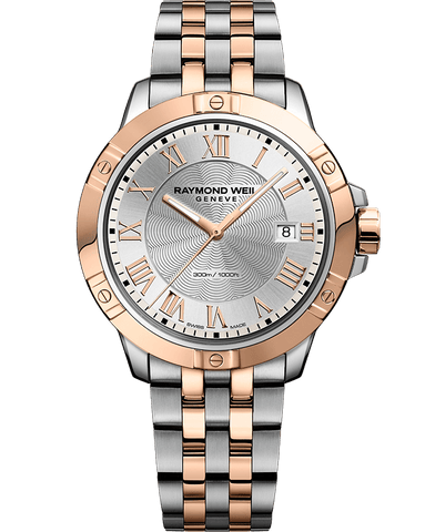 Raymond Weil Mens Tango Two Tone Rose Gold & Stainless Steel Silver Dial 8160-SP5-00658 Watch - Arnik Jewellers
