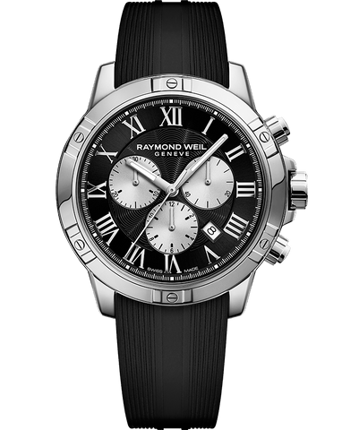 Raymond Weil Mens Tango Chronograph Stainless Black Rubber Strap Black Dial 8560-SR-00206 Watch - Arnik Jewellers