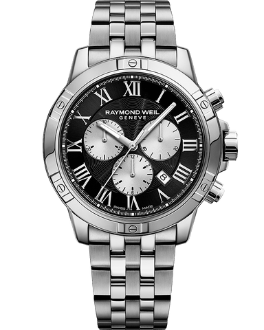 Raymond Weil Mens Tango Chronograph Stainless Black Silver Dial 8560-ST-00206 Watch - Arnik Jewellers