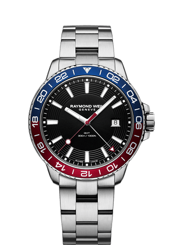 Raymond Weil Mens Tango 300 GMT Stainless Steel Black Dial Two Tone Bezel 8280-ST3-20001 Watch - Arnik Jewellers