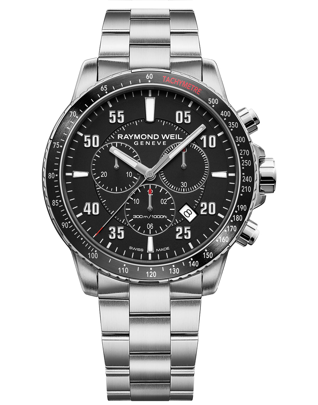 Raymond Weil Mens Tango 300 Chronograph Stainless Steel Black Dial 8570-ST1-05207 - Arnik Jewellers