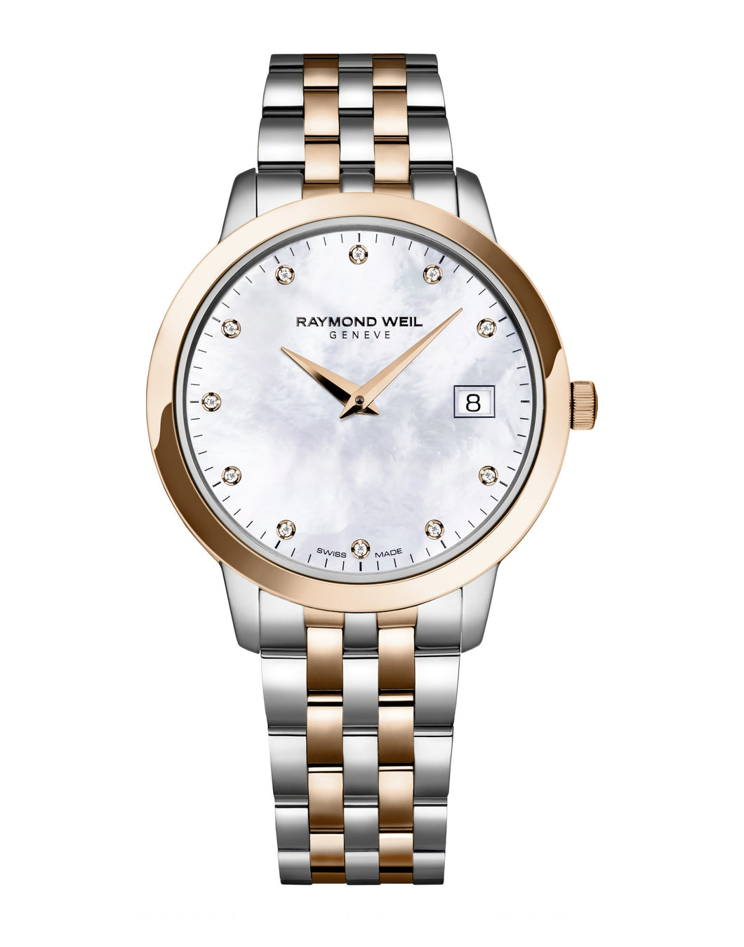 Raymond Weil Toccata Quartz 34mm Rose Gold PVD & Stainless Steel Mother of Pearl Diamond Dial 5388SP597081 - Arnik Jewellers