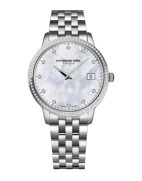 Raymond Weil Toccata Quartz 34mm Stainless Steel Mother of Pearl Dial 91 Diamonds 5388STS97081 - Arnik Jewellers