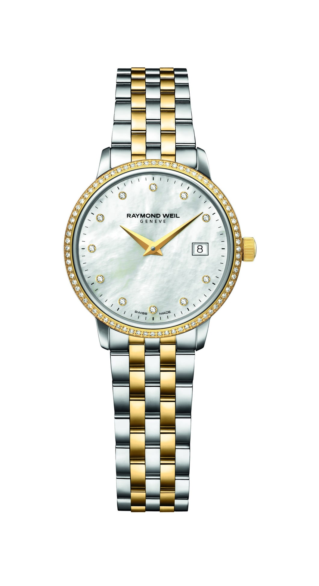 Raymond Weil Toccata Quartz 29mm Yellow Gold PVD/Stainless Steel Mother of Pearl Diamond Dial and Diamond Bezel 5988SPS97081 - Arnik Jewellers