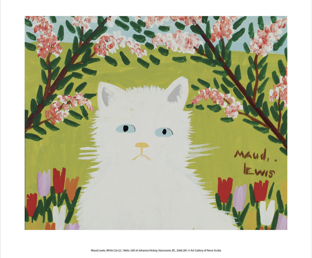 White Cat - 8 x 10 inch reproduction - Maud Lewis