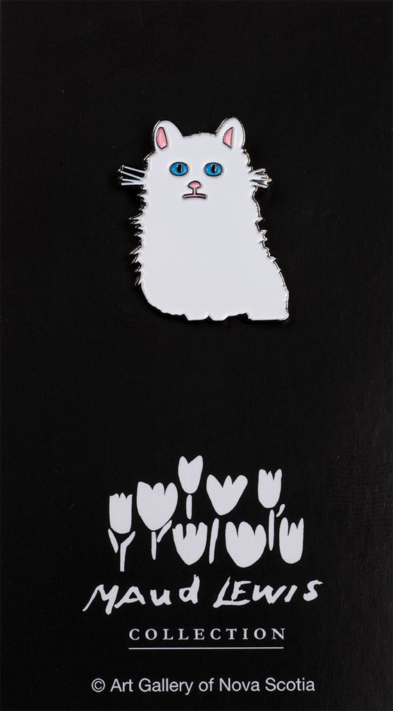 Maud Lewis enamel pin - White Cat
