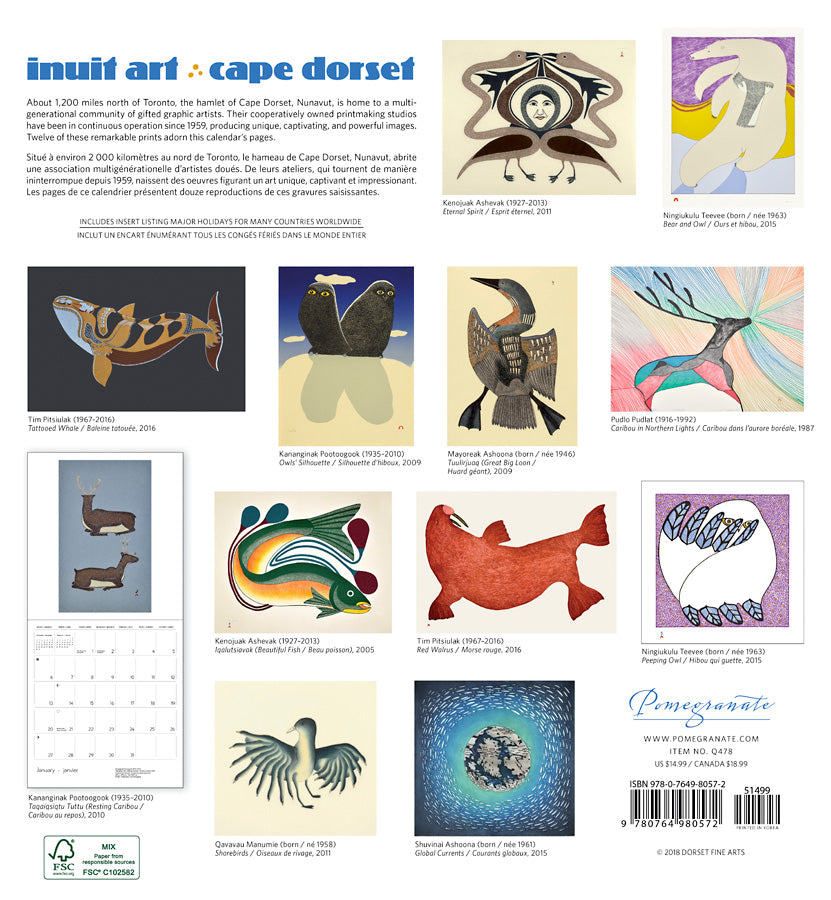 Inuit Art 2019 Wall Calendar Mcmichael Gallery Shop