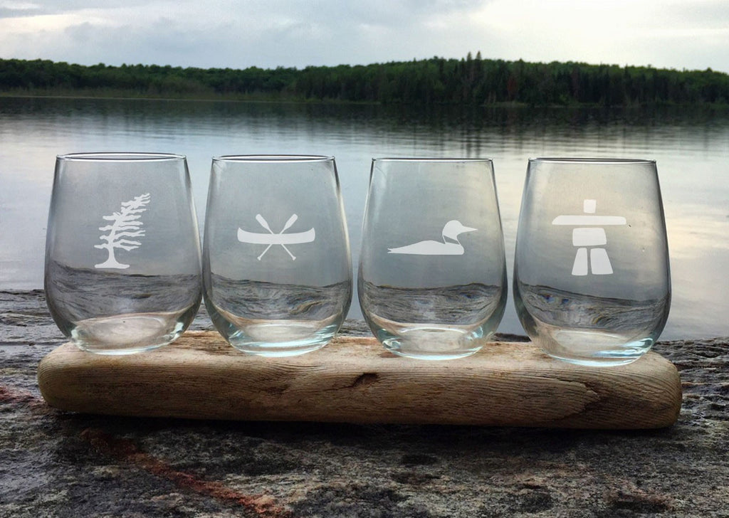 Etched Wine Glasses - stemless - set of 4