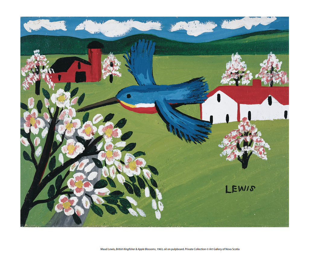 King Fisher & Apple Blossoms - 8 x 10 inch reproduction - Maud Lewis