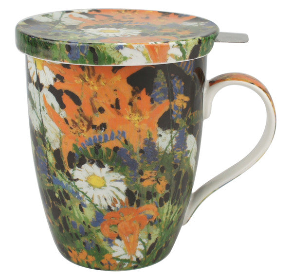 Marguerites Tea Mug with Infuser & Lid