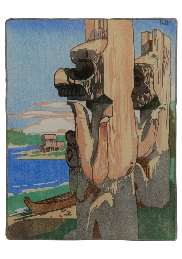 Siwash House Posts, 1928 - Notecard - Walter J. Phillips