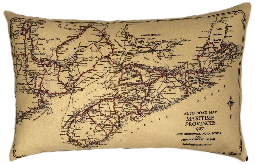 Vintage Map Pillow - Nova Scotia