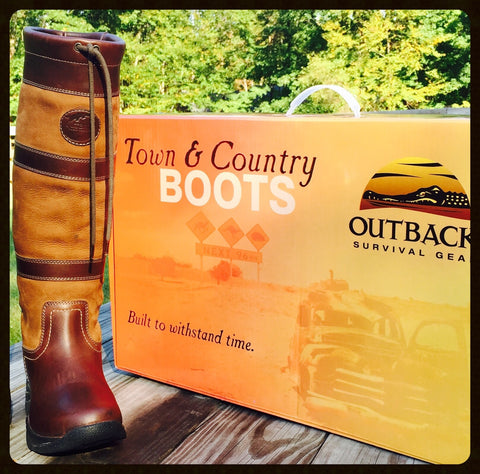 "Outback Survival Gear Town & Country Boots ""Tall"" in Brown"