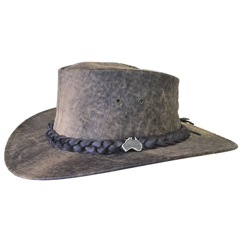 Outback Survival Gear - Kangaroo Leather Hats - Stonewash Brown