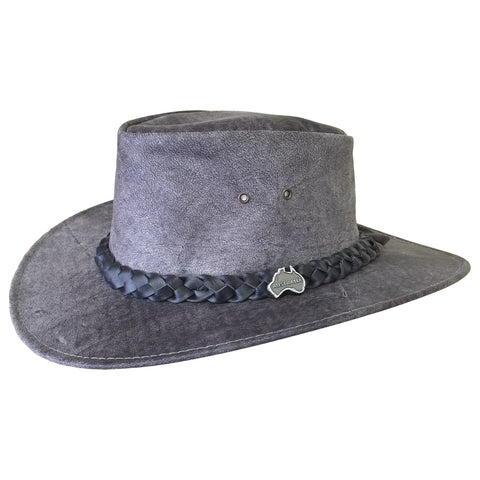 Outback Survival Gear - Kangaroo Leather Hats - Stonewash Grey