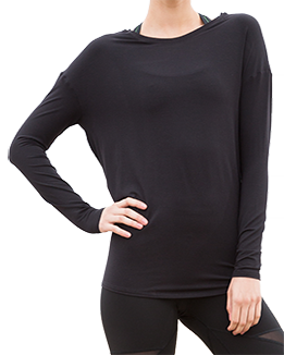 Long Sleeve Open Back Top (Black)