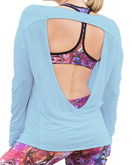 Long Sleeve Open Back Top (Light Blue)