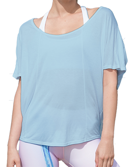 Short Sleeve Open Back Top (Light Blue)